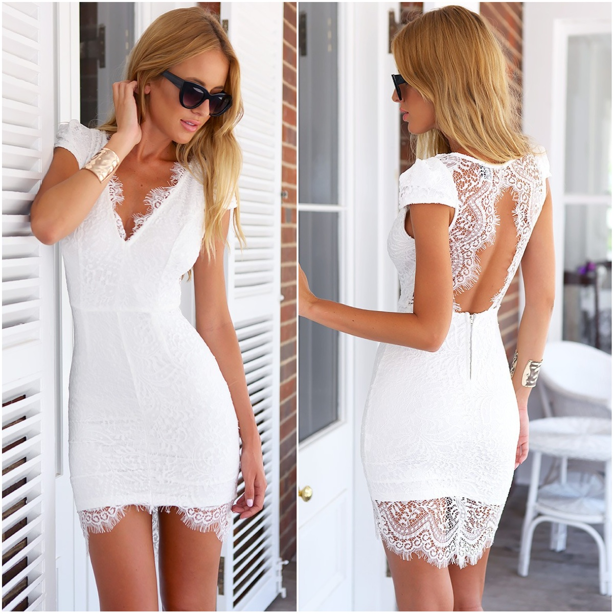 Mura boutique white lace dress